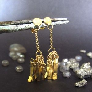 18k yellow solid gold Earrings.Unique design.